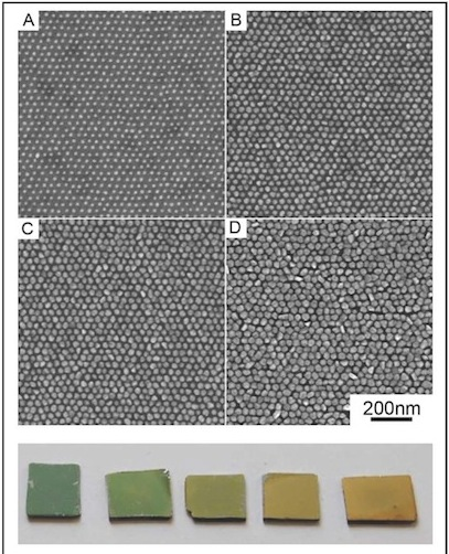 Examples of finished metamaterial surfaces: (top) SEM micrographs and (bottom) optical images of SERS substrates with varying nanoscale structure, optimized for different end-user applications.