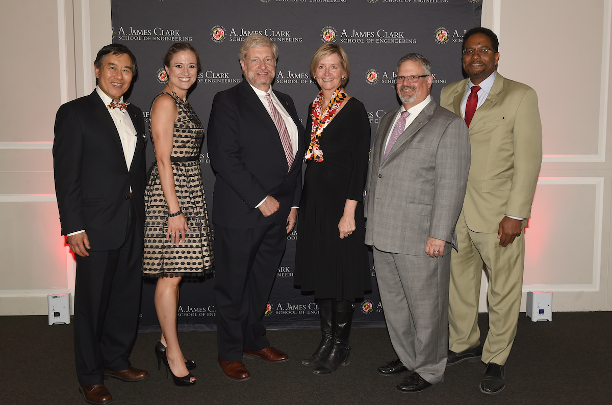 2016 Dean's Recognition Dinner award recipients (from left): UMD President Wallace Loh, Amy Murdock, Bill Koffel, Jennifer Regan, Ken Bell, and Clark School Dean Darryll Pines.
