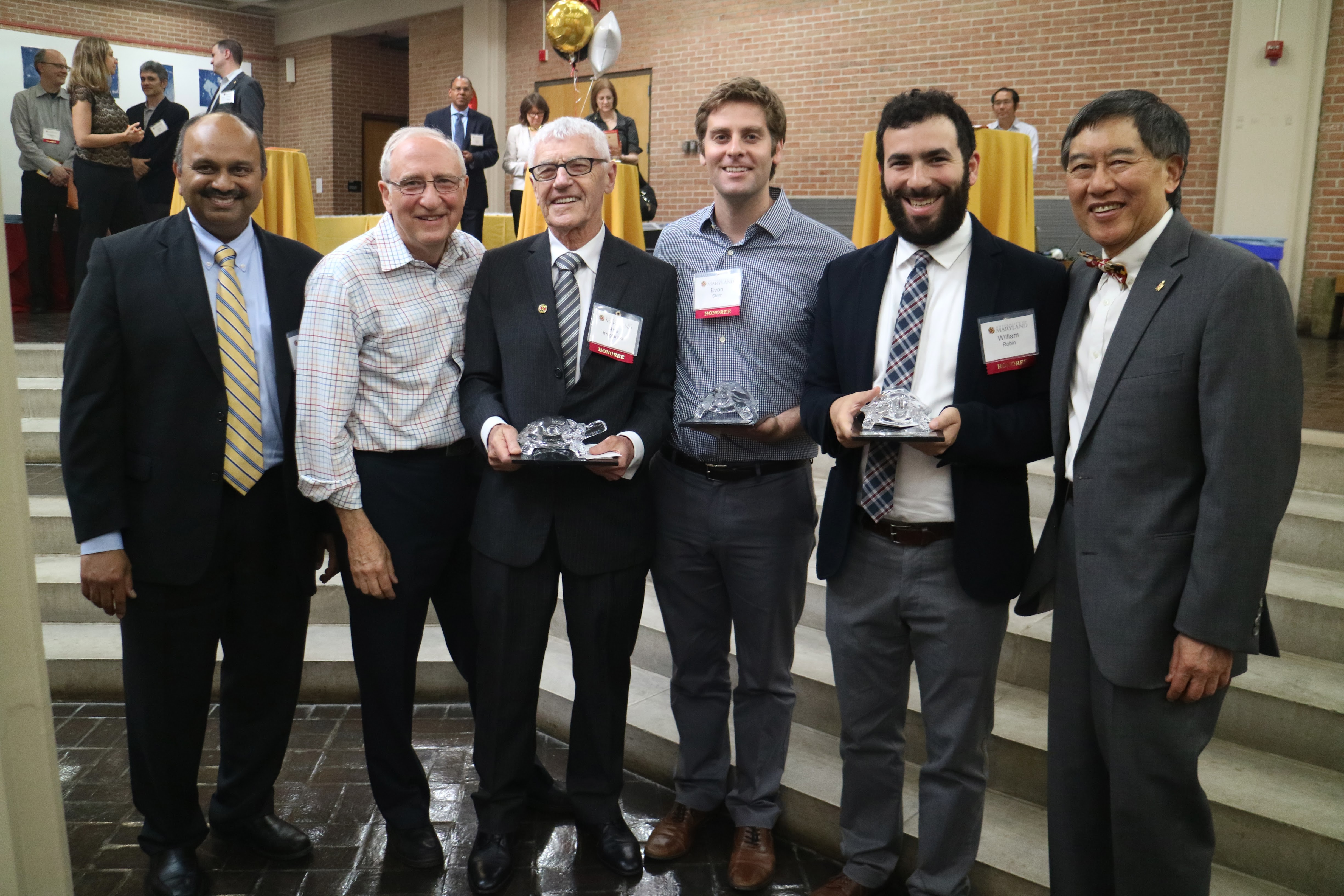 L-R: Interim Vice President for Research Amitabh Varshney, Ben Shneiderman, Arie Kruglanski, Evan Starr, William Robin, and President Wallace Loh.