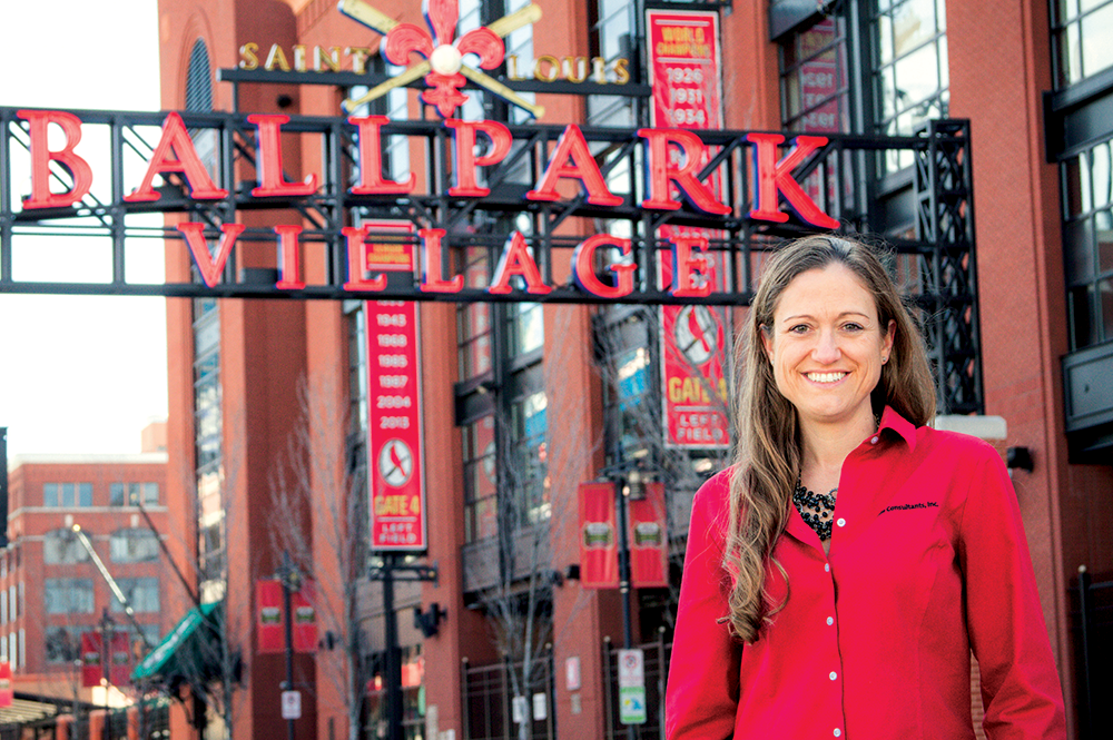 Murdock in front of Ballpark Village in St. Louis, Mo., one of Code Consultants Inc.'s projects. Photo by Resa Troyer.