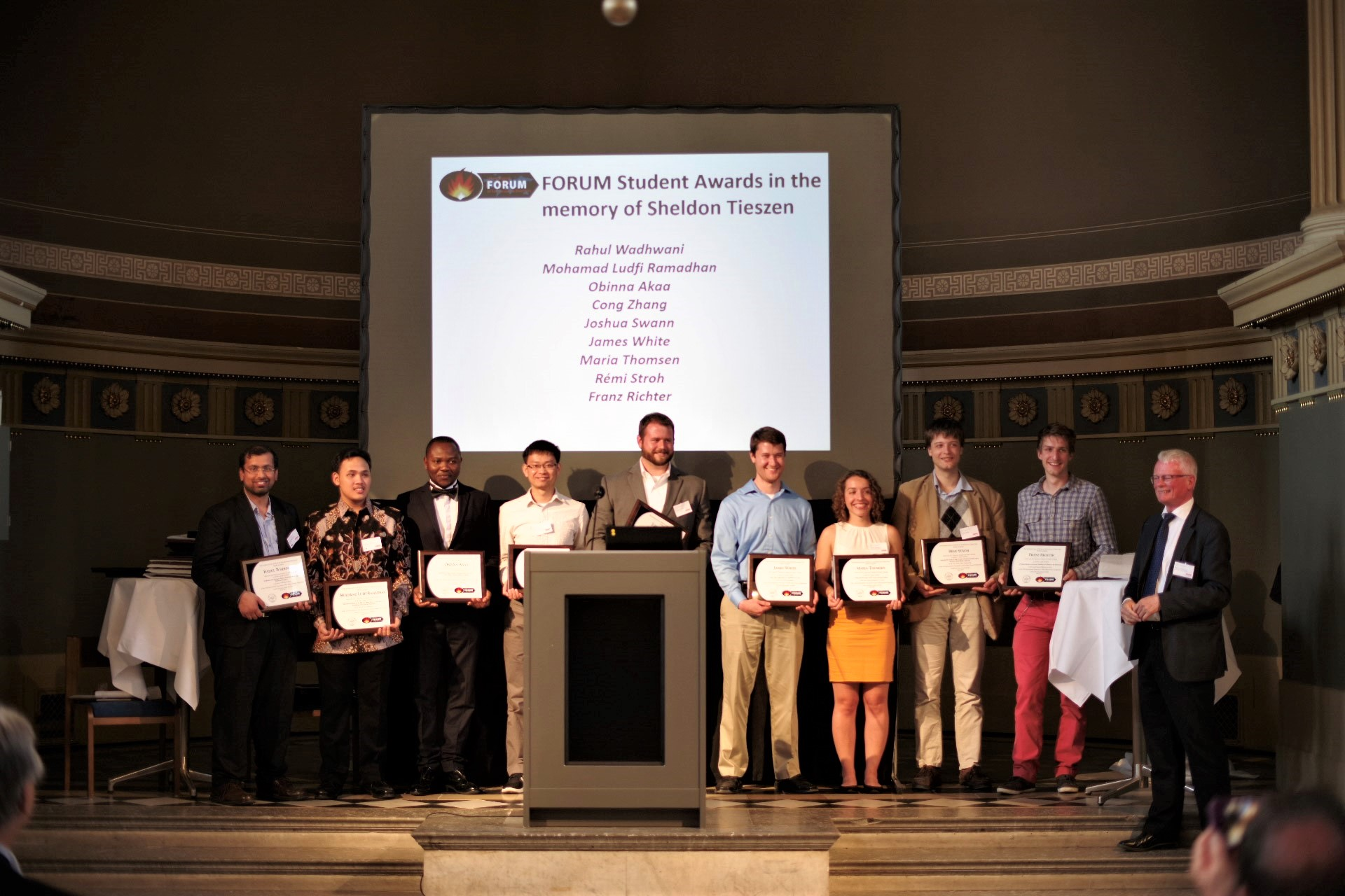Students recognized with the FORUM Sheldon Tieszen Student Awards. UMD students recognized include Cong Zhang (4th from left), Joshua Swann (5th from left) and Dr. James White (6th from left). Photo credit: Michael Strömgren.