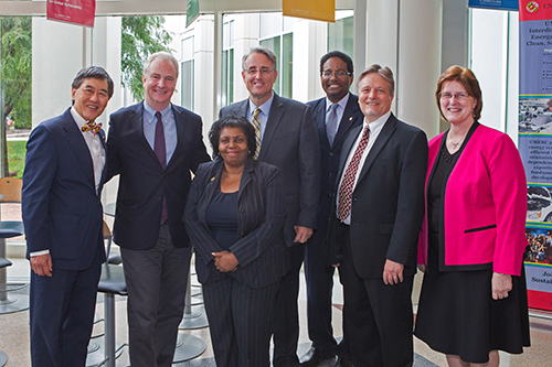 From left to right: University of Maryland President Wallace Loh; U.S. Senator for Maryland Chris Van Hollen; Maryland State Delegate Tawanna Gaines; Maryland State Senator Richard Madaleno; Darryll Pines, Dean of the A. James Clark School of Engineering and Nariman Farvardin Professor; Eric Wachsman, Director of the Maryland Energy Innovation Institute and Professor of Materials Science and Engineering; and Mary Beth Tung, Director of the Maryland Energy Administration. Photo by Felicity Hancock for the University of Maryland.