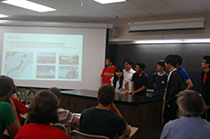 Students from Waseda University present their recommendations for a sustainable energy program for Japan.