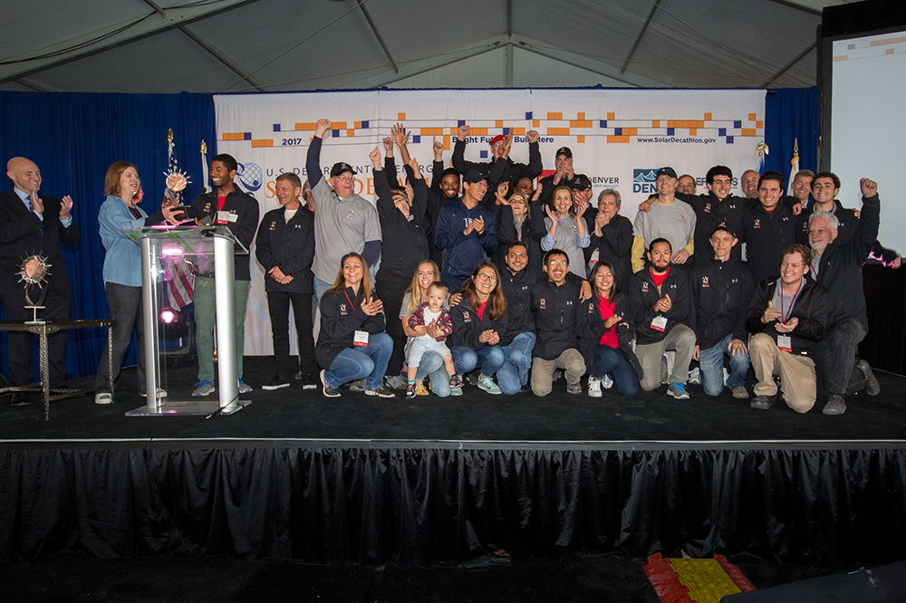 The University of Maryland team takes 2nd place overall in the 2017 U.S. Department of Energy Solar Decathlon. Credit: John De La Rosa/U.S. Department of Energy Solar Decathlon