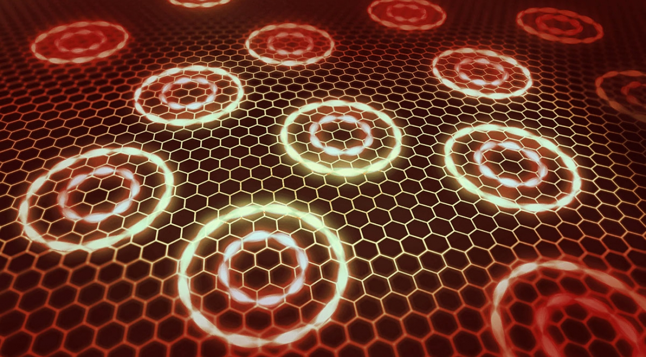 Scientists have suggested a way to make electrons in graphene take on entirely new quantum behaviors. (Credit: N. Beier/JQI and S. Kelley/JQI)