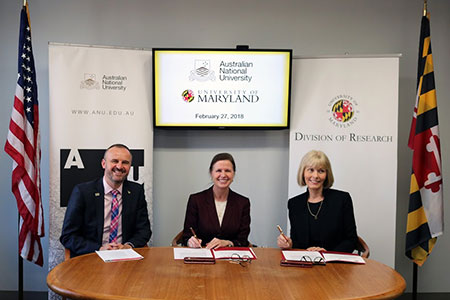 From left to right: Chief Minister of the Australian Capital Territory Andrew Barr, Vice President for Research Laurie Locascio, and Professor Shirley Leitch, Deputy Vice-Chancellor for Global Engagement at ANU at the signing ceremony for the ANU-UMD partnership.