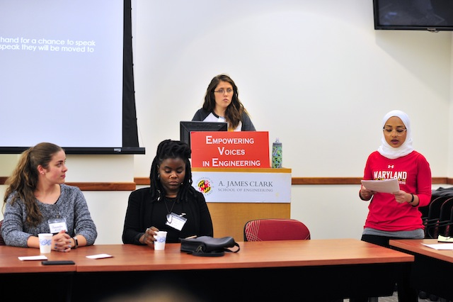 Zoey Warecki (left) and Naila Al-Hasan (right) speaking to the group at the first EVE workshop, April 11, 2018. Photo Credit: Alan Santos, UMD.