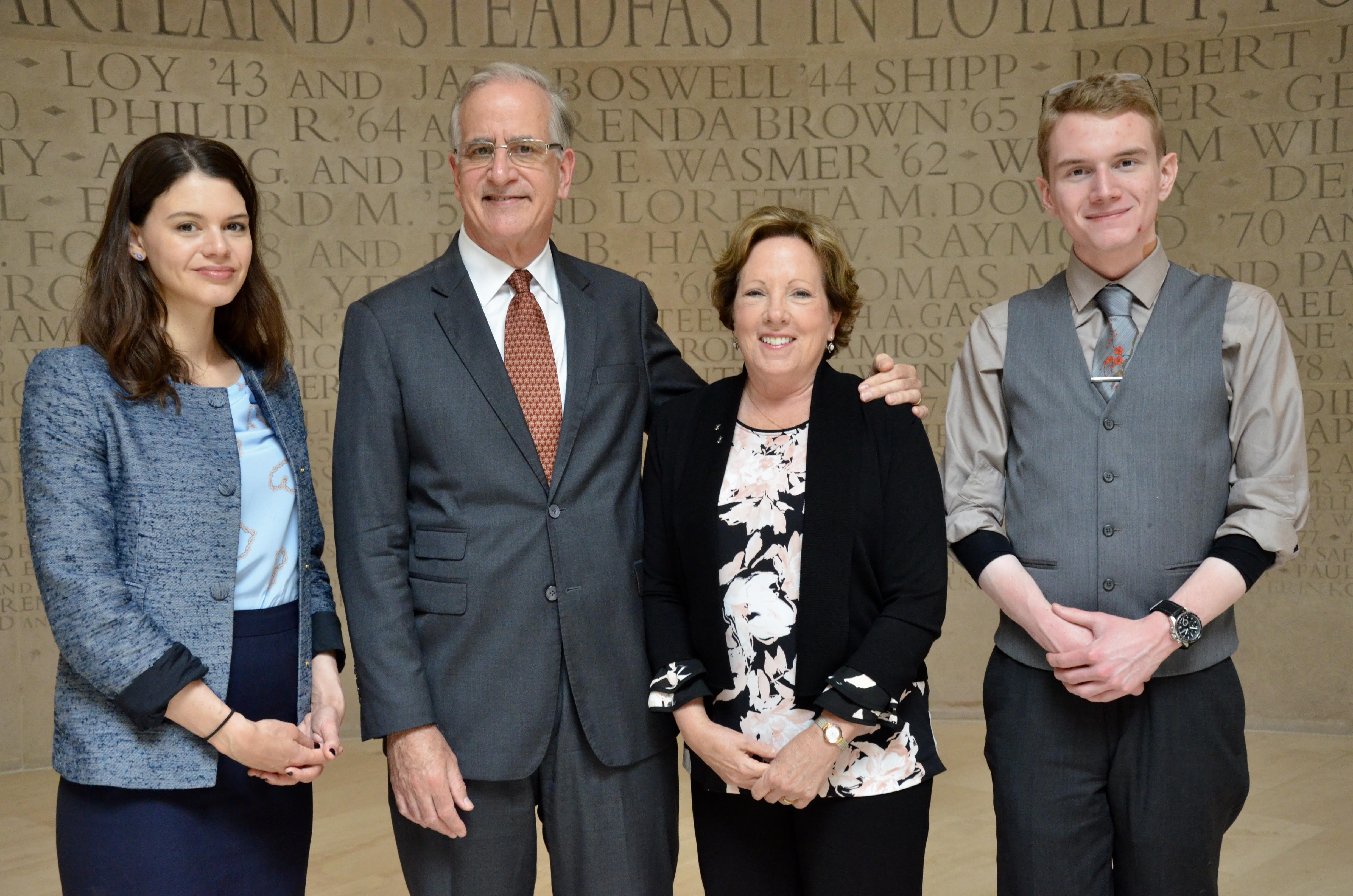 Taryn Devereux, Roger & Karen Winston, and Brendan Sheehy. Photo courtesy of The Honors College.