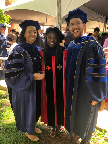 Dr. Vaughn-Cooke (advisor), Kailyn, and Dr. Fuge (co-advisor) at commencement May 21st, 2018