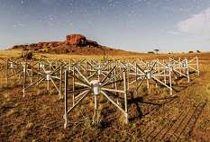 "Tile 107, or ""the Outlier"" as it is known, is one of 128 original tiles of this Square Kilometre Array precursor instrument located 1.5km from the core of the telescope. Photographed by Pete Wheeler, ICRAR."