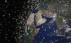 Artist's impression of man-made space debris circling around Earth. (Image: Swiss Re)