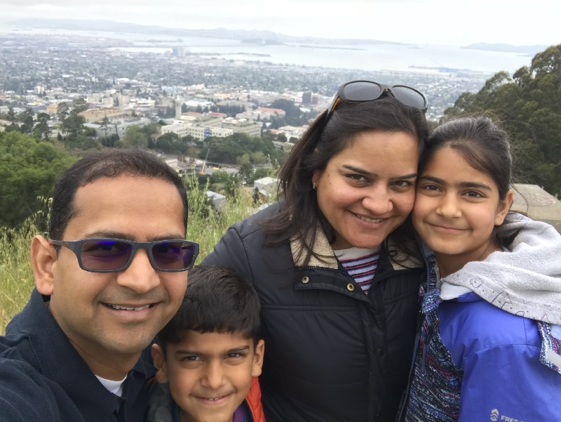 Agrawal with his family near San Francisco bay.