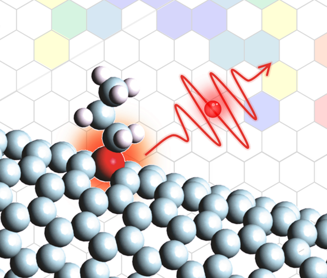This artist's rendition depicts a single photon busting from an organic color center, which was chemically created in a carbon semiconductor host. A new $1M NSF grant will fund research at UMD on color centers in carbon nanotubes as single-photon sources. Image credit: YuHuang Wang and Mijin Kim