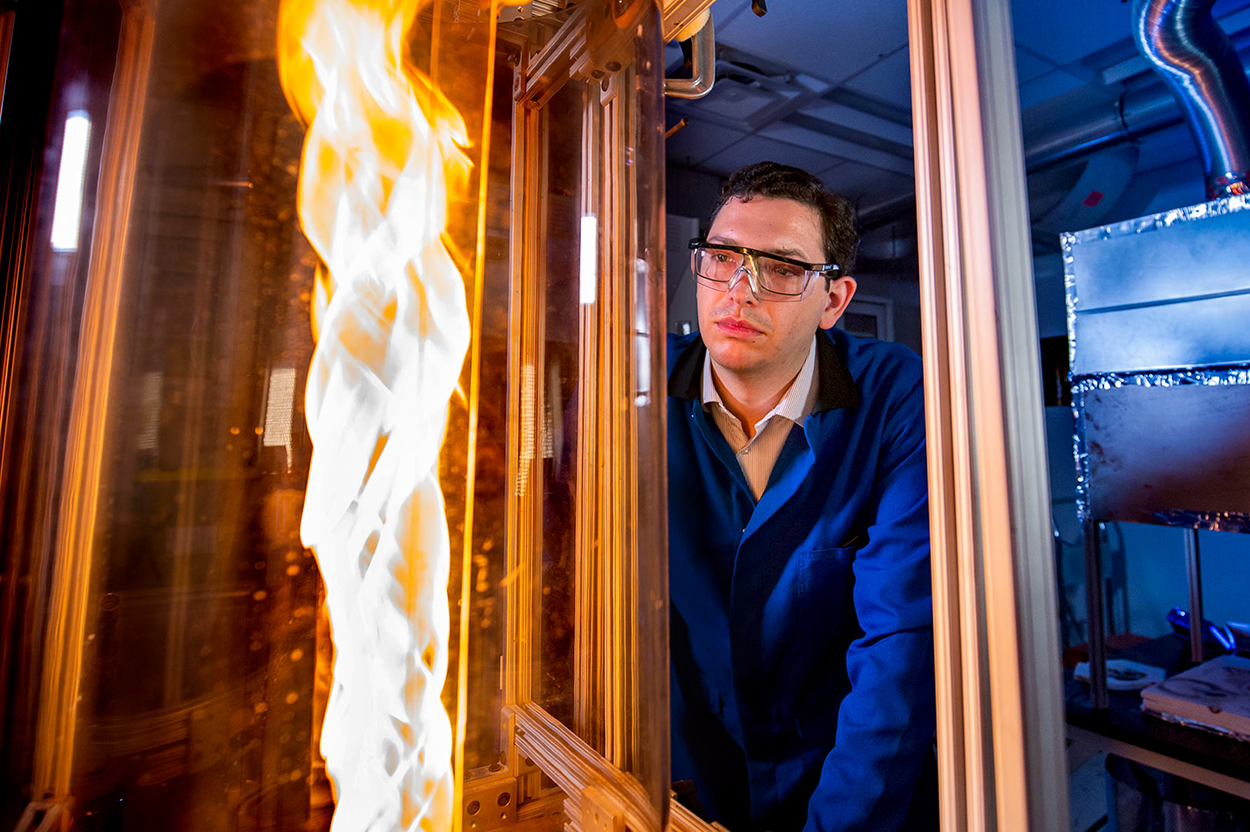 Dr. Michael Gollner examines a fire whirl. Photo: Matthew Ehrichs