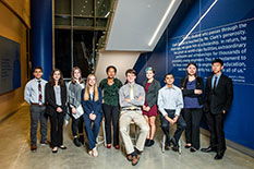 The inaugural class of A. James Clark Scholars (from left to right: Nolan Vanbourgondien, Carolyn Payne, Lauren Losin, Anna Parrish, Hermela Mengesha, Andrew Green, Kayleigh Taylor, Sriniket Rachuri, Emily Cho, and Steven Hu)