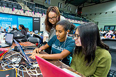 Students work together to build new technologies at last year's Technica, which attracted about 900 participants. (Photo by John T. Consoli)