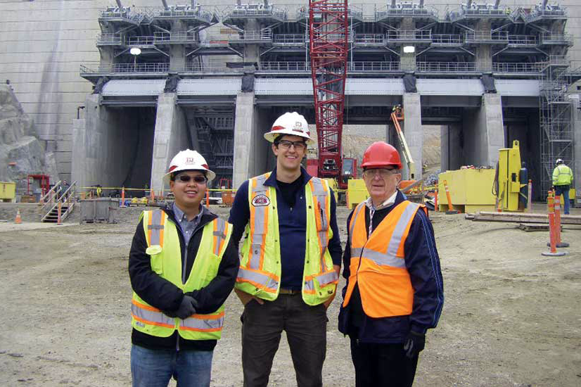 Galloway (right), in one of his many roles, joins fellow engineers at Folsom Dam in California in 2015 to study dam stability in mountainous areas. Photo courtesy: Gerry Galloway