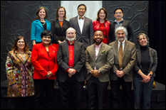 Exemplary researchers were selected to represent each college. Front row, from left: Professor Linda Steiner (JOUR), Professor Rajshree Agarwal (BMGT), Professor Gregg Vanderheiden (INFO), Assistant Professor Marccus Hendricks (ARCH), Professor Ralph Dubayah (BSOS), and Professor Ellen Fabian (EDUC). Back row, from left: Professor Amy Sapkota (SPH), Vice President for Research Laurie E. Locascio, President Wallace D. Loh, Senior Vice President and Provost Mary Ann Rankin, and Associate Professor Liangbing Hu (ENGR). Not pictured: Distinguished University Professor Emeritus David Driskell (ARHU), Distinguished University Professor Christopher Monroe (CMNS), Professor Utpal Pal (AGNR), and Professor Peter Reuter (SPP).(Photos by John T. Consoli)
