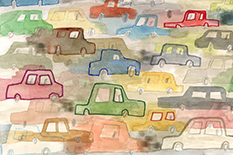 In a newly published commentary, Devon Payne-Sturges, assistant professor with the Maryland Institute of Applied Environmental Health, and others call for stronger vehicle fuel efficiency standards to protect children from the health risks of exposure to air pollution. (Illustration by iStock)