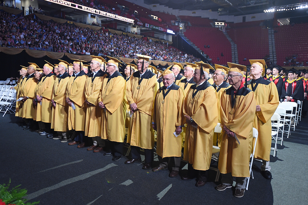 Golden Terps at the Clark School's Spring 2019 commencement.