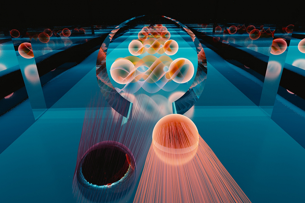 In Klein tunneling, an electron can transit perfectly through a barrier. In a new experiment, researchers observed the Klein tunneling of electrons into a special kind of superconductor. Credit: E. Edwards/JQI