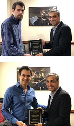Top, Eliot Rudnick-Cohen receives the George Harhalakis Outstanding Systems Engineering Graduate Student Award. Bottom, Alireza Khaligh receives the ISR Outstanding Faculty Award.