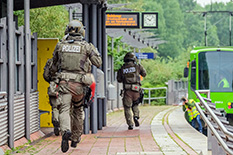 A counterterrorism police unit from the state of Lower Saxony conducts a training operation in Hanover, Germany in July. A new report by UMD researchers shows that the number of terrorism attacks worldwide fell for its fourth consecutive year.(Photo by: Clemens Heidrich/picture-alliance/dpa/AP Images)