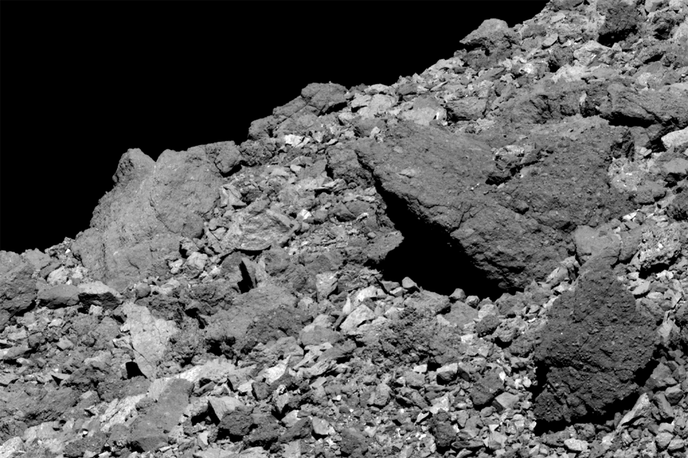 This image shows a boulder jutting out from asteroid Bennu's northern hemisphere. It was taken by the PolyCam camera on NASA's OSIRIS-REx spacecraft on April 5, 2019, from a distance of 1.7 miles (2.8 km). Credit: NASA/Goddard/University of Arizona