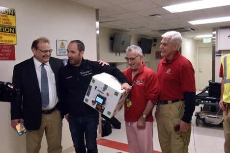 From left: Norman Wereley, chair of aerospace engineering at UMD; Joseph Scalea, transplant surgeon at the University of Maryland Medical System (UMMS); Tom Scalea, Physician-in-Chief at the University of Maryland R Adams Cowley Shock Trauma Center; Matt Scassero, director of the UMD UAS Test Site.
