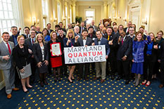 Representatives from UMD and other founding members of the Maryland Quantum Alliance gather for a kickoff event in Annapolis. (Photo by John T. Consoli)