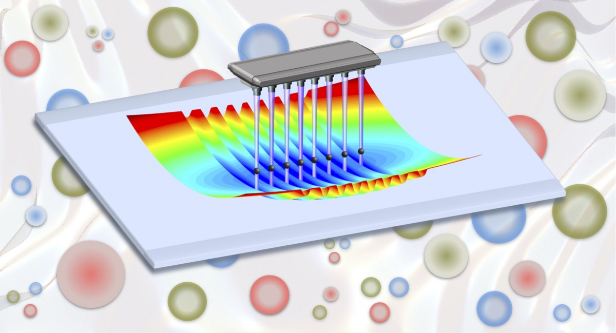 Trapped ion quantum simulators may soon offer new means to explore the properties of matter emerging from complex interactions among quarks, gluons and the other fundamental building blocks of nature. (Credit: A. Shaw and Z. Davoudi/University of Maryland)