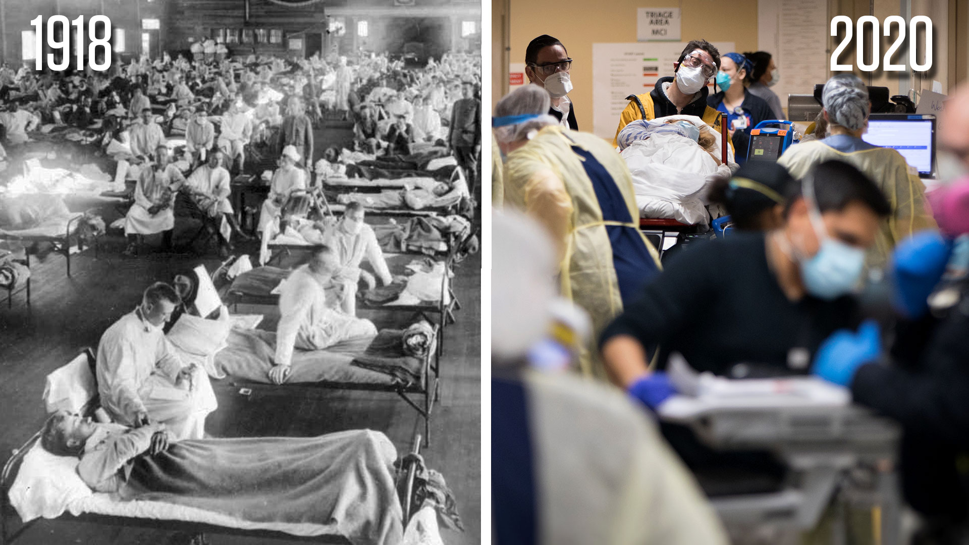Flu patients convalesce in a makeshift Kansas hospital (left), while emergency medical personnel scurried to provide care as coronavirus victims overflow into a hallway in a New York hospital in April. A University of Maryland public health researcher says the two pandemics bear many similarities, from the public health responses to unequal racial outcomes of the illnesses.(1918 photo by Associated Press; 2020 photo by Jeffrey Basinger/Newsday via Getty Images)