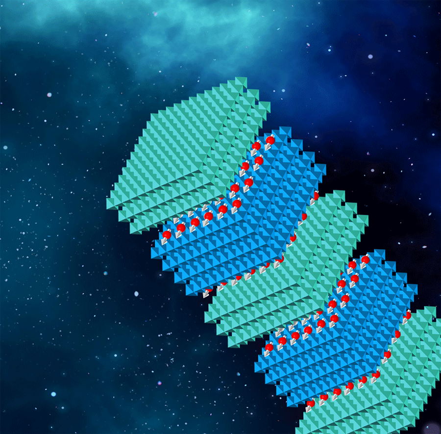 Illustration of the pure spin-polarized 2D electron gases at interfaces of a multiferroic superlattice.