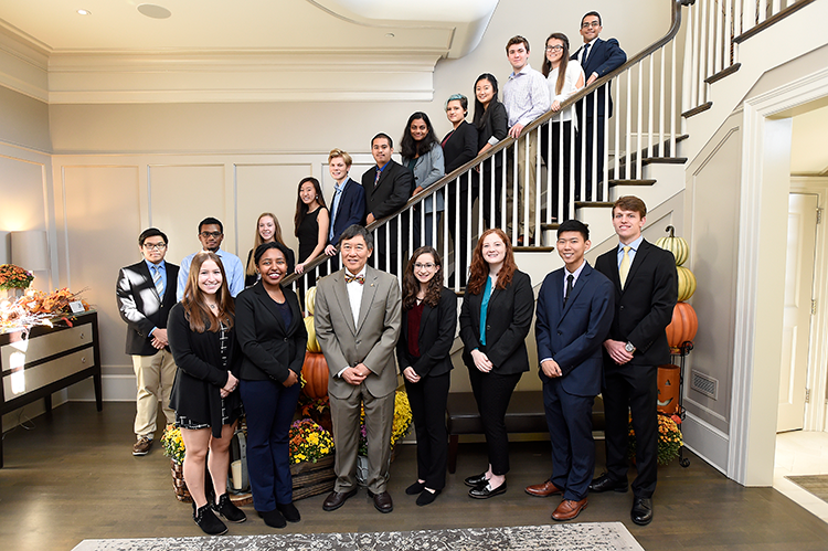 Clark Scholars with immediate past UMD President Wallace Loh in October 2019. Photo: Greg Fiume