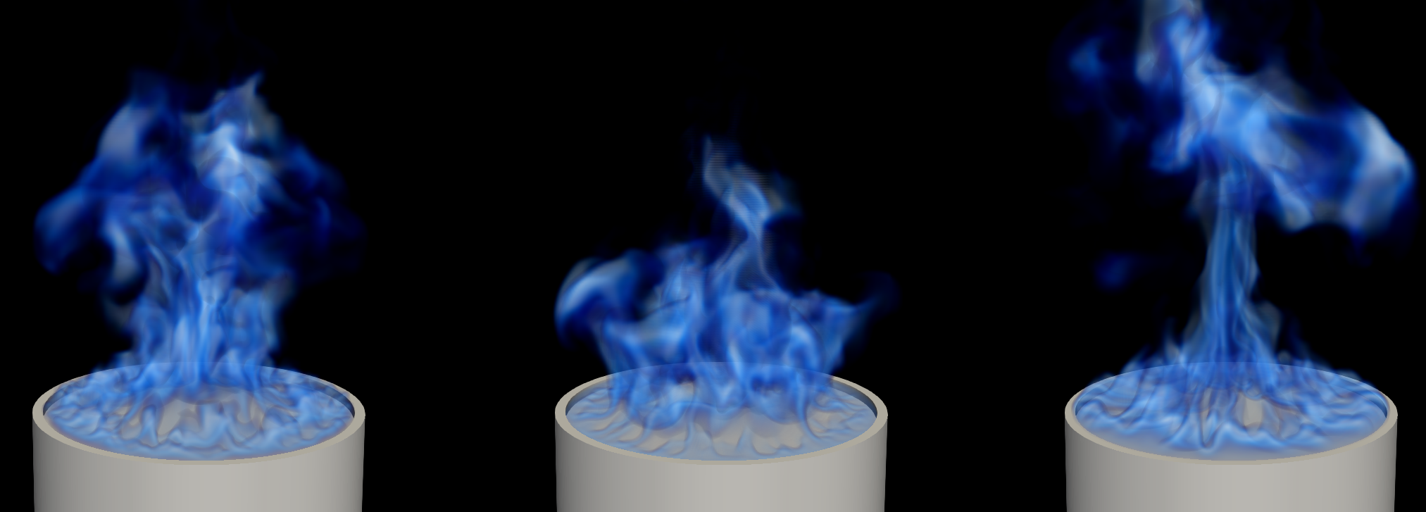 A sample of instantaneous snapshots of the simulated methanol pool flame. The flame is visualized using volume rendering of the high temperature region (defined as the region where temperatures are larger than 800 K).