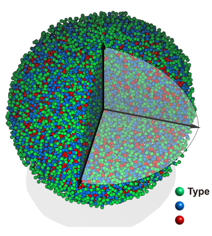 Image: Experimental 3D atomic model of the metallic glass nanoparticle.
