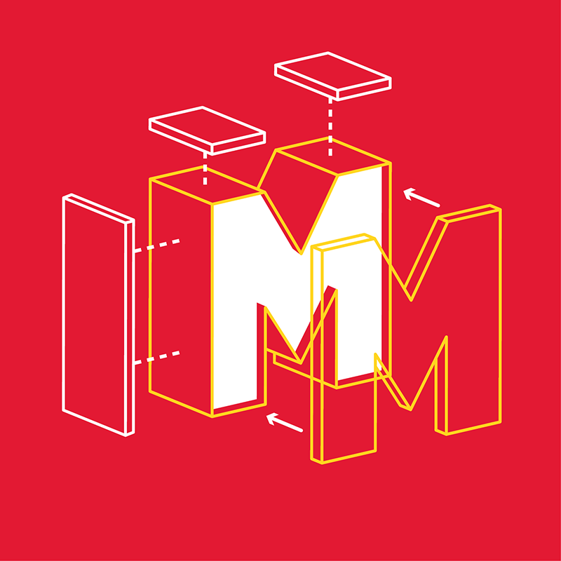 Illustration of deconstructed letter M