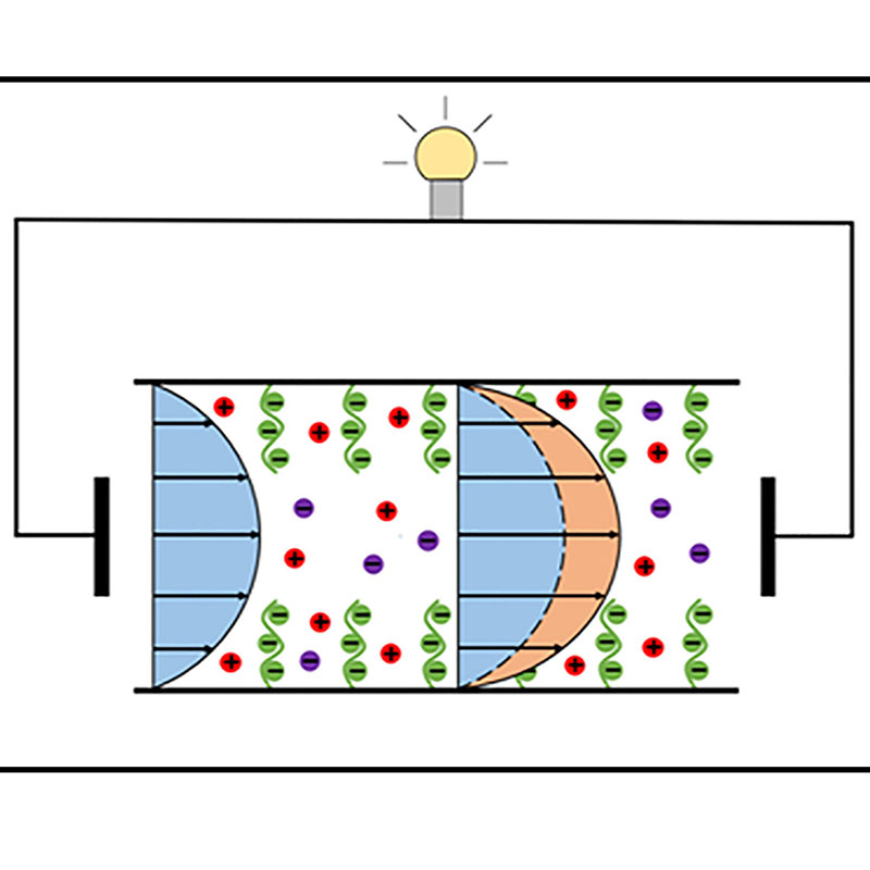 A graphic illustrating tthe electroslippage effect