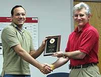 ECE Chair Patrick O'Shea (right) with ECEGSA Board Member Ashish Dobhal (left)