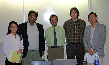 Guest speaker Prof. Rama Chellappa (center) joins signal processing colleagues and chapter officers (left to right) Prof. Min Wu, chapter chair; Prof. Ramani Duraiswami, vice chair; Phillip Regalia (Catholic Univ. of America), December speaker; and Prof. Ray Liu, CSPL Director. (Photo by Avinash Varna)
