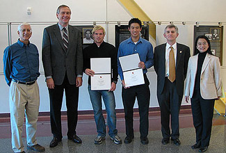 From left to right: Prof. Steven Tretter, Texas Instruments (TI) Senior Fellow William Witowsky, TI Scholars Jerker Taudien and Kenneth Ho, ECE Chair Patrick O'Shea, and Assoc. Prof. Min Wu
