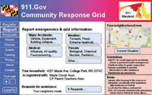 This protoype CRG web page supports registering households, reporting incidents, requesting assistance, and responding to requests.