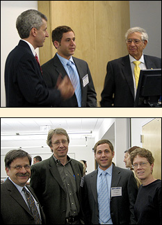 TOP PHOTO: Fischell Department of Bioengineering Professor and Chair William Bentley (left) and Dr. Robert Fischell (right), announce Daniel Janiak (center) as the the 2007 Fischell Fellow. LOWER PHOTO (left to right): Materials Science and Engineering (MSE) Professor and NanoCenter Director Gary Rubloff, MSE Professor and Chair Robert Briber, Daniel Janiak, and MSE Assistant Director of Student Services Dr. Kathleen Hart.