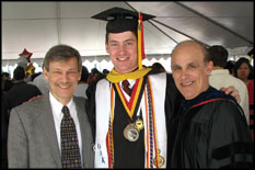 Chair and Distinguished University Professor of Mechanical Engineering Dr. Avram Bar-Cohen, graduating ME undergrad Steven Hoffenson, and Associate Professor David Bigio at the Kim Engineering Building Plaza reception for graduates and their families.