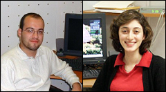 ECE Ph.D. graduates Tolga Girici (left) and Azadeh Faridi (right).