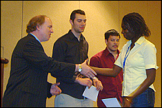 Ms. Louise Ahure receives the Lightwing competition award on behalf of the best placed Maryland team - CORE lab team at the 2007 SAMPE award competition