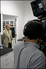 Professor Gregory Payne being interviewed.