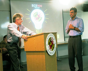 George Corcoran Memorial Award winner Prof. Ankur Srivastava (right) with ECE Chair Patrick O'Shea (left).