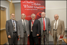From left to right: William Marcuson, Enrique Castillo, Raymond J. Krizek, Frank Hamons and Interim Dean Herbert Rabin, who served as moderator.