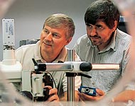 Prof. Christopher Davis (left) and Research Scientist Igor Smolyaninov